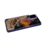 Силиконовый чехол Samsung Galaxy A50 утолщенный с жидкими блестками сердечками, Likee космос