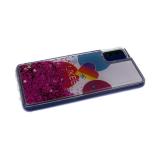 Силиконовый чехол Samsung Galaxy A51 утолщенный с жидкими блестками звездочками, Likee на белом