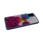 Силиконовый чехол Samsung Galaxy A50 утолщенный с жид блестками сердечками, Likee на фоне кругов, бе