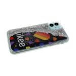 Силиконовый чехол Samsung Galaxy A41 утолщенный, с жидкими блестками, Likee на черном