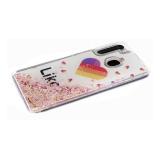 Задняя крышка Huawei Honor 9c утолщенный, жидкие блестки-сердечки, Likee