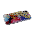 Задняя крышка Samsung Galaxy A10 жидкие блестки с сердечками, силиконовый борт, Париж