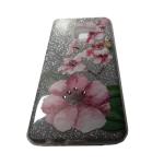 Силиконовый чехол Samsung A530 Galaxy A8 2018 блестящий цветы и стразы