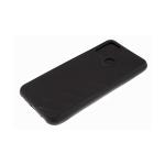 Силиконовый чехол Huawei Honor 9c эко-кожа, черный борт, полосы по боками, 3Д камера, черный