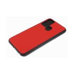 Силиконовый чехол Huawei Honor 9c эко-кожа, черный борт, полосы по боками, 3Д камера, красный