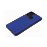 Силиконовый чехол Huawei Honor 10 Lite эко-кожа, черный борт, полосы по боками, 3Д камера, синий