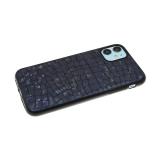 Силиконовый чехол Samsung Galaxy M21 имитация кожи рептилии, dazzle с черным бортом, черный