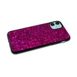 Силиконовый чехол Samsung Galaxy M21 имитация кожи рептилии, dazzle с черным бортом, фиолетовый