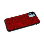 Силиконовый чехол Samsung Galaxy M21 имитация кожи рептилии, dazzle с черным бортом, красный