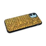 Силиконовый чехол Samsung Galaxy M21 имитация кожи рептилии, dazzle с черным бортом, золотой