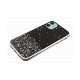Задняя крышка Samsung Galaxy M21 крупные мелкие блестки, белая окантовка, черная
