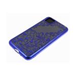 Силиконовый чехол Samsung Galaxy A11 однотонный, цвет металлик, узоры, синий