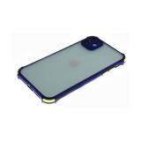 Задняя крышка Samsung Galaxy A31 полупрозрачная, цветные антишок углы, темно-синяя