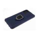 Силиконовый чехол Samsung Galaxy A01 противоударный, прямоугольным кольцом, карбон, синий