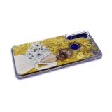 Задняя крышка Samsung Galaxy A20/A30 прозрачная, золотые блестки сердечки, девушка с цветами