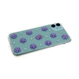 Силиконовый чехол Huawei Y5 2018 прозрачный со стразами и цветочками фиолетовыми
