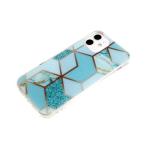 Силиконовый чехол Samsung Galaxy M11 геометрические фигуры, рис. мрамор, прозр борт, бирюзовый