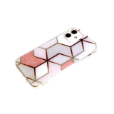 Силиконовый чехол Xiaomi Redmi 9C геометрические фигуры, рисунок мрамор, прозрачный борт, розовый