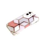 Силиконовый чехол Samsung Galaxy M11 геометрические фигуры, рис. мрамор, прозр борт, розовый