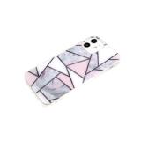 Силиконовый чехол Samsung Galaxy M11 геометрические фигуры, рис. мрамор, прозр борт, серый