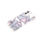 Силиконовый чехол Samsung Galaxy M01 геометрические фигуры, рис. мрамор, прозр борт, серый