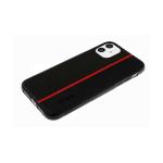 Силиконовый чехол Huawei Honor 9c карбон + эко кожа, вертикальная полоса, с лого, красный