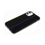 Силиконовый чехол Huawei Honor 9c карбон + эко кожа, вертикальная полоса, с лого, синий