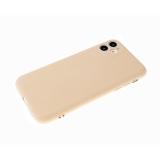 Силиконовый чехол Iphone 12 (5.4) матовый, однотонный soft-touch, бархат внутри, бежевый