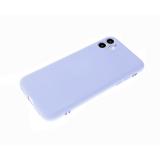 Силиконовый чехол Iphone 12 (5.4) матовый, однотонный soft-touch, бархат внутри, голубой