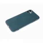 Силиконовый чехол Iphone 12 (5.4) матовый, однотонный soft-touch, бархат внутри, темно-зеленый