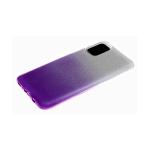 Силиконовый чехол Xiaomi Redmi Note 9 Pro мелкие блестки 3в1 двухцветный, серо-фиолетовый