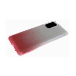 Силиконовый чехол Xiaomi Redmi Note 9 Pro мелкие блестки 3в1 двухцветный, серо-розовый
