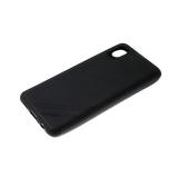 Силиконовый чехол Huawei Honor 20 Lite однотонный, полосы в углу, черный борт, черный