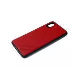 Силиконовый чехол Huawei Honor 10 Lite однотонный, полосы в углу, черный борт, красный
