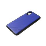 Силиконовый чехол Huawei Honor 20 Lite однотонный, полосы в углу, черный борт, синий