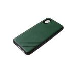 Силиконовый чехол Samsung Galaxy A01 core однотонный, полосы в углу, черный борт, зеленый