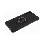 Силиконовый чехол Samsung Galaxy A11 противоударный, с кольцом, карбон по периметру, черный