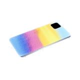 Силиконовый чехол Samsung Galaxy M01 разноцветный принт, прозрачный борт, бирюзово-голубой