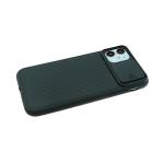 Силиконовый чехол Samsung Galaxy A11 рифленый Soft Touch, с закрытой защитой камеры, темно-зеленый