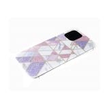 Задняя крышка Huawei Honor 8X рисунок под мрамор, геометрические фигуры с блестками, розовая