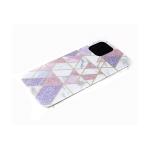Задняя крышка Huawei Honor 9a рисунок под мрамор, геометрические фигуры с блестками, розовая