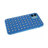 Силиконовый чехол Samsung Galaxy A50 утолщенный со стразами, голубой