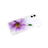 Задняя крышка Samsung G973F Galaxy S10e цветной винил, блестки, прозр. борт, сиреневый цветок
