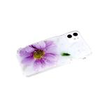 Задняя крышка Samsung Galaxy S20 цветной винил, блестки звездочки, прозр. борт, сиреневый цветок