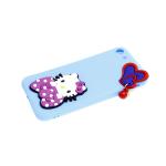 Силиконовый чехол Huawei Honor 9c матовый, накладные фигурки сердце, Hello Kitty, голубой