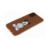 Силиконовый чехол Huawei Honor 7A Pro однотонный с цветным принтом, коричневый, мики маус