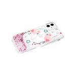 Чехол для Samsung Galaxy A32 4G прозрачный борт, цветные жидкие блестки, фламинго