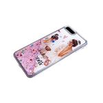 Чехол для Huawei Y6 2019 прозрачный борт, цветные жидкие блестки, рисунок внутри, queens