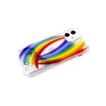 Задняя крышка Samsung Galaxy A11/M11 прозрачный, рис. поверх жидких блесток, две радуги