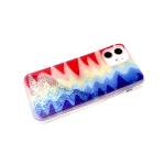 Задняя крышка Samsung Galaxy A11/M11 прозрачный, рис. поверх жидких блесток, размытые краски